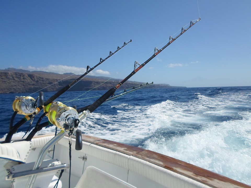 Lines and reels for big game fishing in La Gomera (Canary Islands)